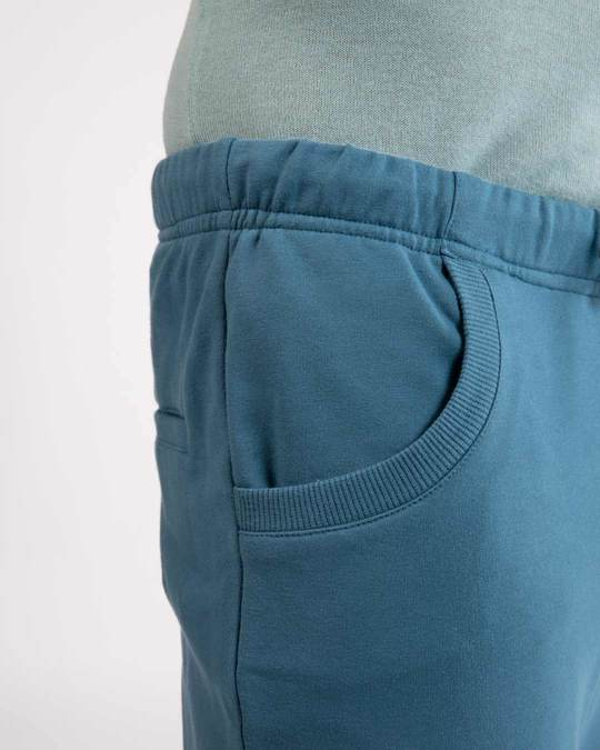 Shop Prussian Blue Round Pocket Joggers Pants