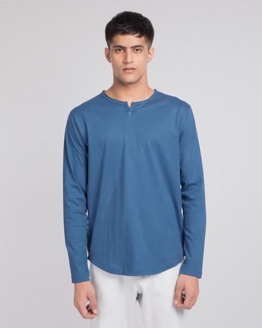 Shop Prussian Blue Slit Neck Full Sleeve Henley T-shirt-Front
