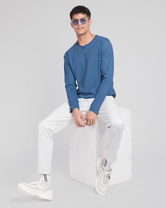 Shop Prussian Blue Slit Neck Full Sleeve Henley T-shirt-Full