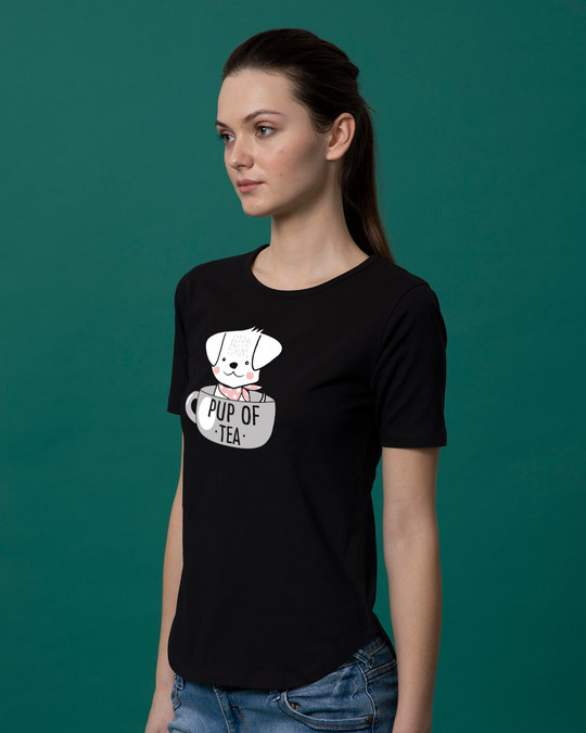 Shop Pup Of Tea Basic Round Hem T-Shirt-Back