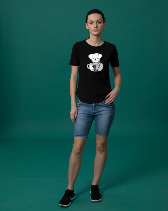 Shop Pup Of Tea Basic Round Hem T-Shirt