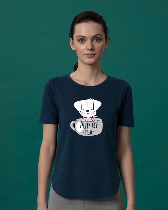 Shop Pup Of Tea Basic Round Hem T-Shirt-Front