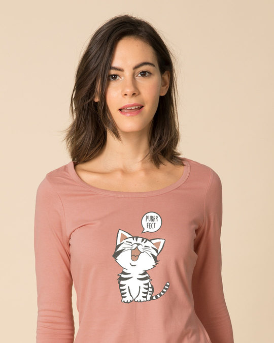 Shop Purrfect Kitty Scoop Neck Full Sleeve T-Shirt-Front