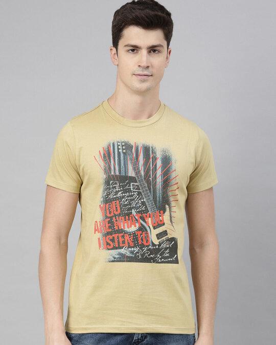 Shop Mens Beige Organic Cotton Half Sleeves T Shirt-Front