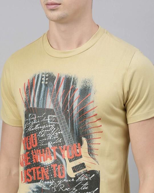 Shop Mens Beige Organic Cotton Half Sleeves T Shirt
