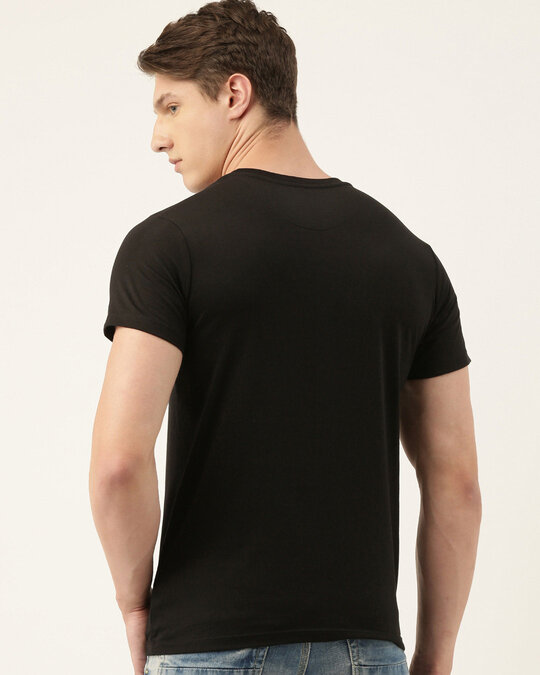 Shop Mens Black Organic Cotton Half Sleeves T Shirt-Back