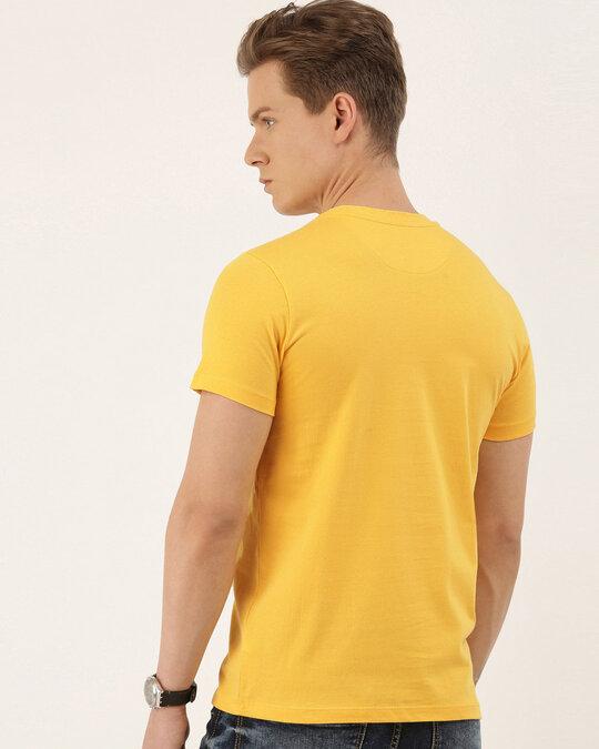 Shop Men's Mustard Organic Cotton Half Sleeves T-Shirt-Back