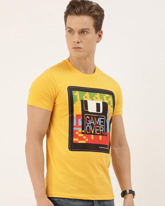 Shop Men's Mustard Organic Cotton Half Sleeves T-Shirt-Full