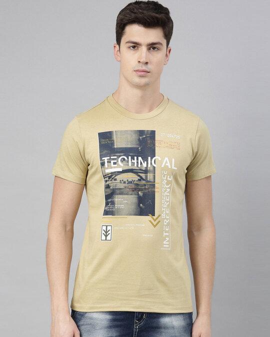 Shop Mens Plus Size Beige Organic Cotton Half Sleeves T Shirt-Front