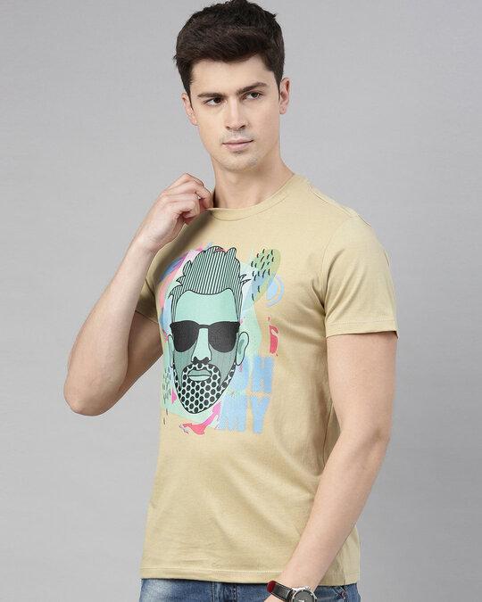 Shop Mens Plus Size Beige Organic Cotton Half Sleeves T Shirt-Back