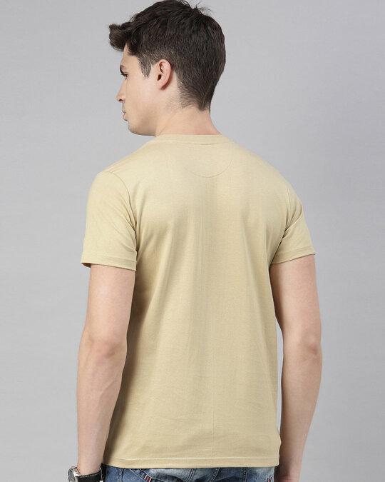 Shop Mens Plus Size Beige Organic Cotton Half Sleeves T Shirt-Design