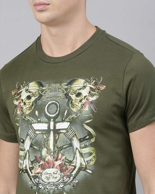Shop Mens Plus Size Olive Organic Cotton Half Sleeves T Shirt