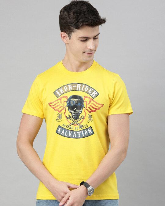 Shop Mens Plus Size Yellow Organic Cotton Half Sleeves T Shirt-Front