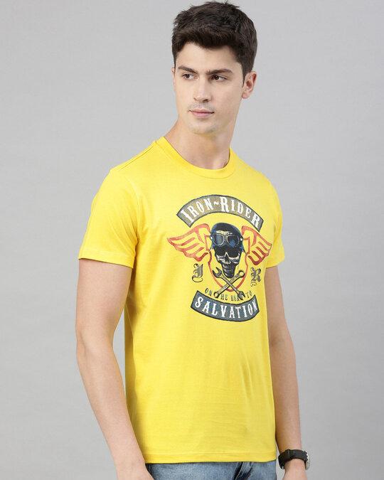 Shop Mens Plus Size Yellow Organic Cotton Half Sleeves T Shirt