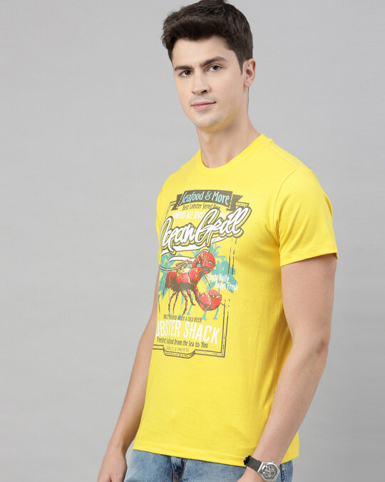 Shop Mens Plus Size Yellow Organic Cotton Half Sleeves T Shirt-Back