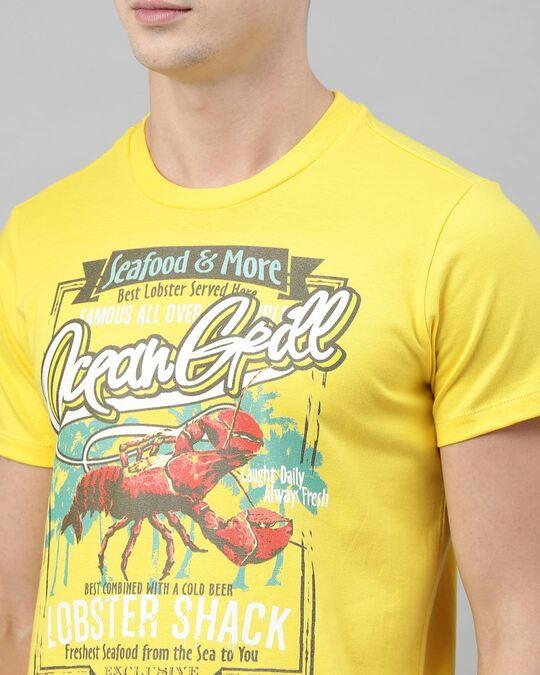 Shop Men's Yellow Organic Cotton Half Sleeves T-Shirt