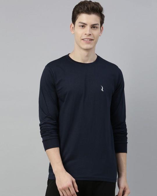 Shop Blue Solid T Shirt-Front