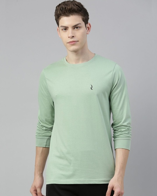 Shop Green Solid T Shirt-Front