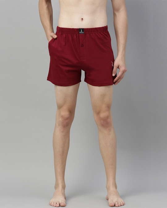 Shop Maroon Solid Boxer-Front