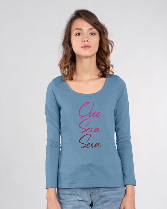 Shop Que Sera Sera Scoop Neck Full Sleeve T-Shirt-Front