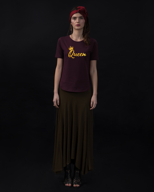 Shop Queen Gold Print Basic Round Hem T-Shirt