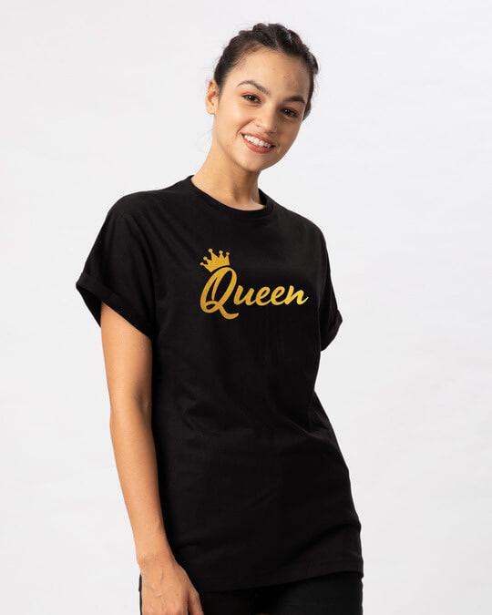 Shop Queen Gold Print Boyfriend T-Shirt-Back
