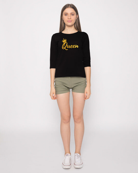Shop Queen Gold Print Round Neck 3/4th Sleeve T-Shirt-Full