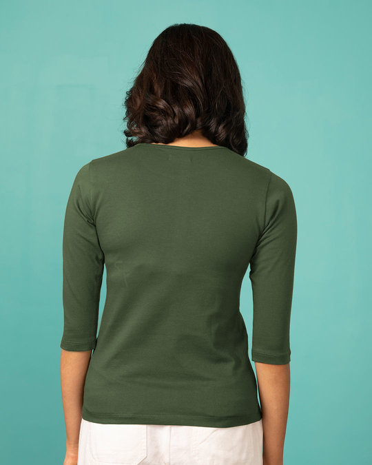 Shop Queen Gold Print Round Neck 3/4th Sleeve T-Shirt-Back