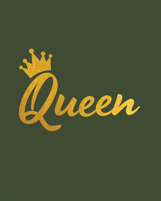 Shop Queen Gold Print Round Neck 3/4th Sleeve T-Shirt