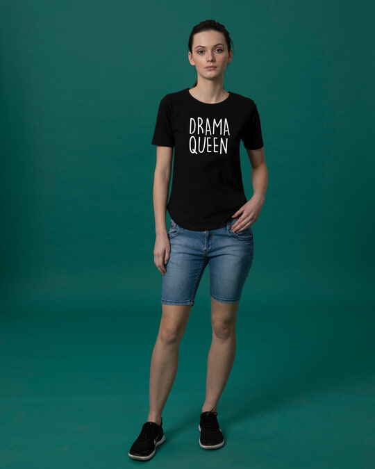 Shop Queen Of Drama Basic Round Hem T-Shirt