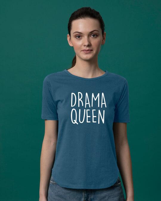 Shop Queen Of Drama Basic Round Hem T-Shirt-Front