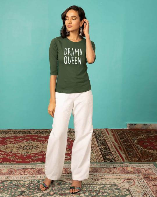 Shop Queen Of Drama Round Neck 3/4th Sleeve T-Shirt-Design