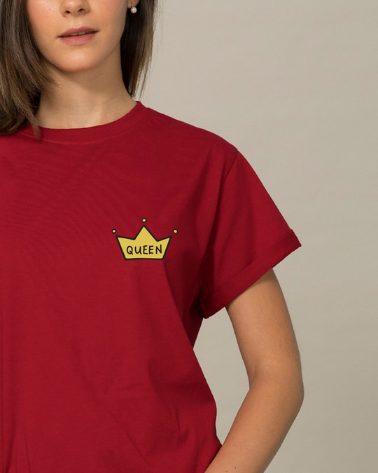 Shop Queen Pocket Print Boyfriend T-Shirt-Front