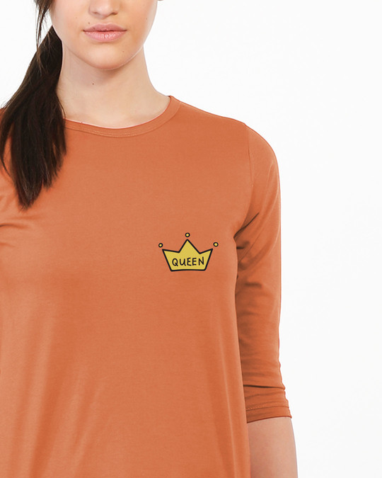 Shop Queen Pocket Print Round Neck 3/4th Sleeve T-Shirt-Front