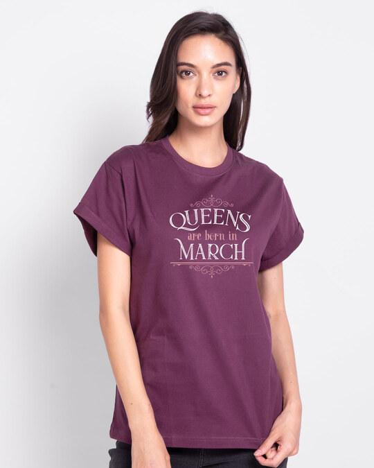 Shop Queens Are Born  Boyfriend T-Shirt  Deep Purple-Front