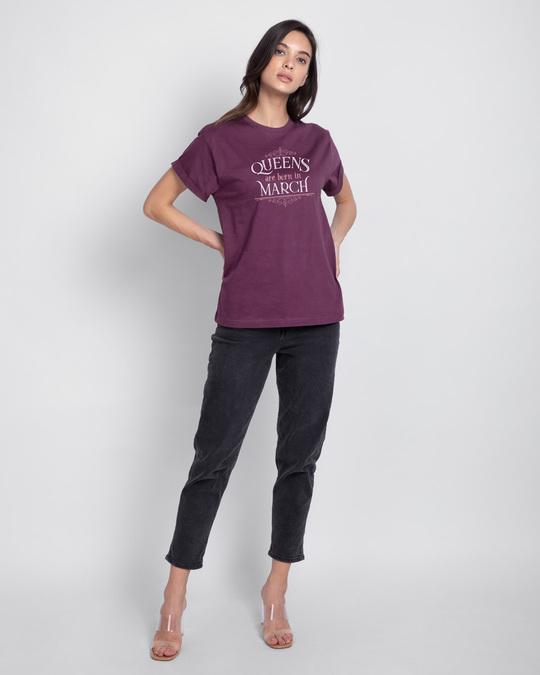 Shop Queens Are Born  Boyfriend T-Shirt  Deep Purple-Design