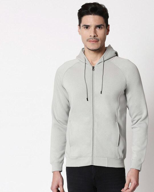 Shop Quiet Grey Stylised Panel Zipper Hoodie-Back