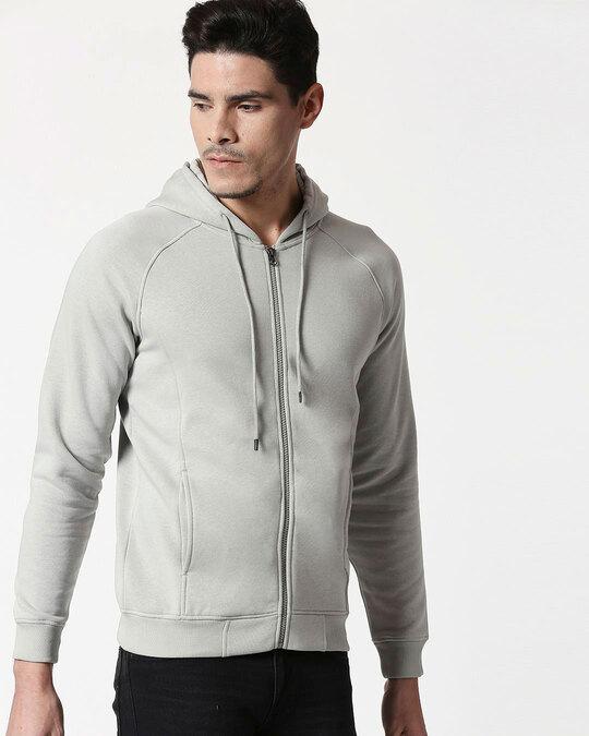 Shop Quiet Grey Stylised Panel Zipper Hoodie-Design