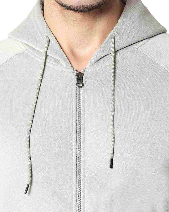 Shop Quiet Grey Stylised Panel Zipper Hoodie
