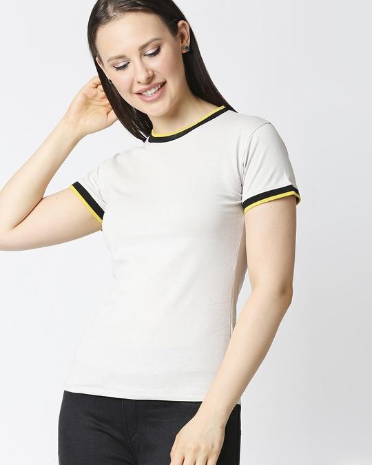 Shop Quiet Grey Women Half sleeve Plain Rib T-shirt-Front
