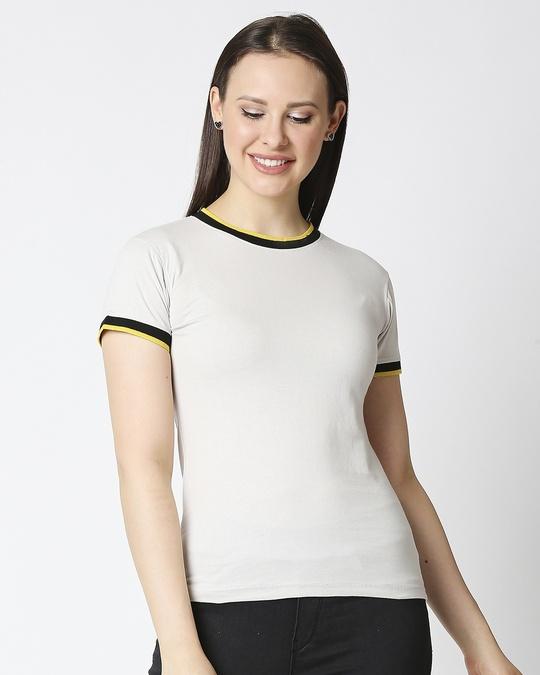 Shop Quiet Grey Women Half sleeve Plain Rib T-shirt-Back