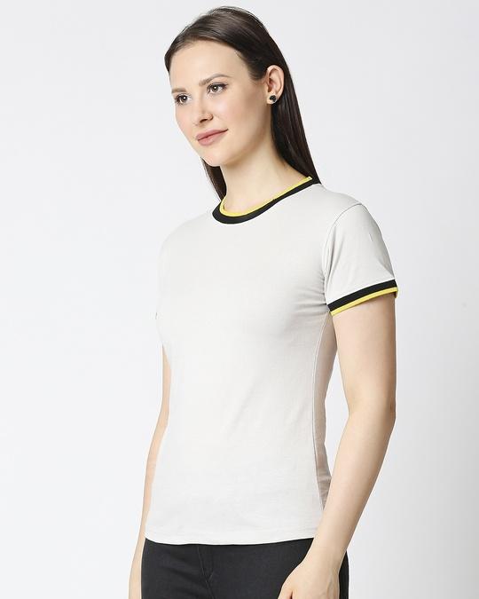 Shop Quiet Grey Women Half sleeve Plain Rib T-shirt-Design