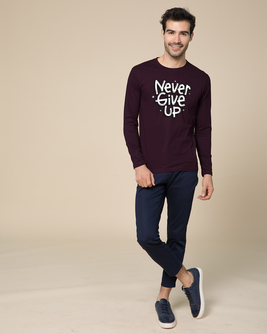 Shop Quirky Never Give Up Full Sleeve T-Shirt
