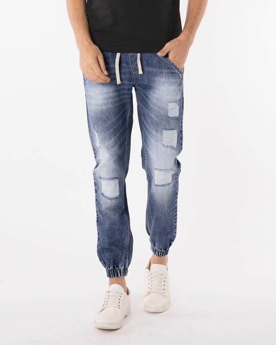 Shop Racing Blue Ripped Denim Joggers-Front