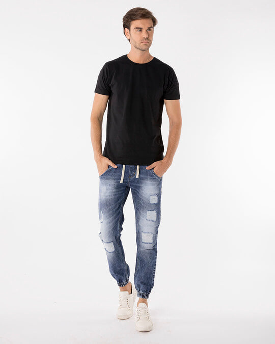 Shop Racing Blue Ripped Denim Joggers