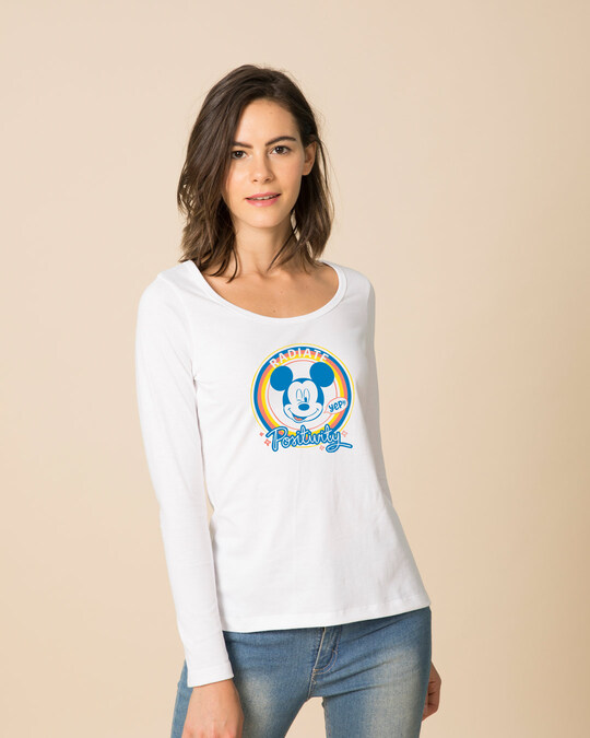 Shop Radiate Positivity Scoop Neck Full Sleeve T-Shirt (DL)-Front
