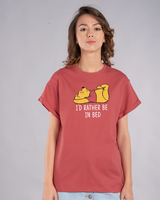Shop Rather Be In Bed Boyfriend T-Shirt (DL)-Front