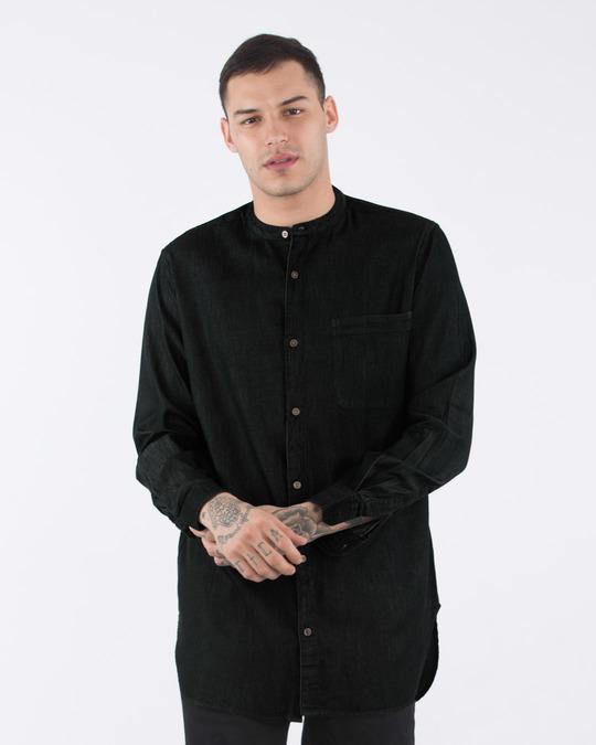 Shop Raven Black Longline Denim Shirt-Front