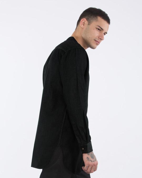 Shop Raven Black Longline Denim Shirt-Back