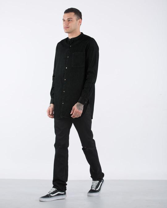 Shop Raven Black Longline Denim Shirt